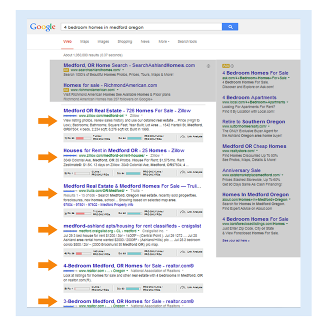 Demonstrating search results for phrase 4 bedroom homes in medford oregon